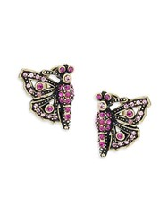 Heidi Daus Butterfly Crystal Earrings Pink