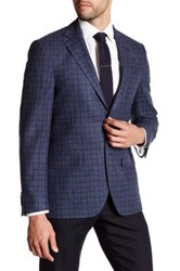 Ike Behar Plaid Sport Coat Blue