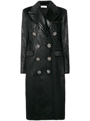 Faith Connexion Double Breasted Snake Print Coat Black