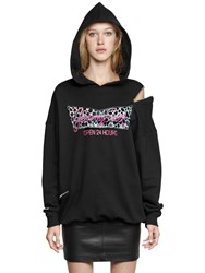 Jeremy Scott Hooded Cotton Sweatshirt W Zip Detail