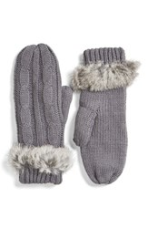 Women's Love Token Cable Knit Mittens With Genuine Rabbit Fur Trim Grey