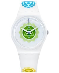 Swatch Unisex Swiss Exotic Charm White Silicone Printed Strap Watch 34Mm Gw172