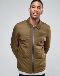 Asos Military Jacket With M65 Styling In Khaki Khaki Green