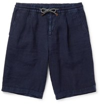 Brunello Cucinelli Linen Drawstring Shorts Blue