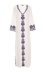 Chantik Long Embroidered Caftan White