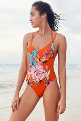 ba8f1dc38a260 Out From Under Casey Printed Strappy Back One Piece Swimsuit Dark Orange