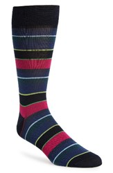 Bugatchi Men's 'Pop' Stripe Socks Midnight