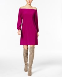 Inc International Concepts Petite Off The Shoulder Dress Only At Macy's Magenta Flame