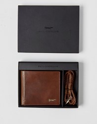 Paul Costelloe Leather Wallet With Braided Bracelet Gift Set Tan