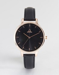 Asos Design Black Tonal Rose Gold Leather Watch