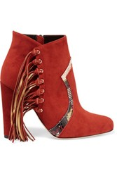 Brian Atwood Harlow Fringed Elaphe Trimmed Suede Ankle Boots Brick