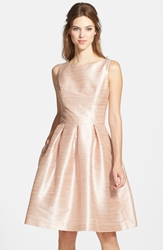 Alfred Sung Dupioni Fit And Flare Dress Pearl Pink