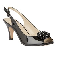 Lotus Elodie Peep Toe Sling Back Heels Black