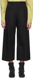 Christophe Lemaire Black Large Crop Trousers