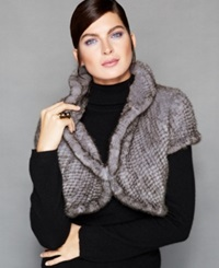 The Fur Vault Knitted Mink Fur Cap Sleeve Bolero Grey