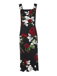 Dolce And Gabbana Fluted Hem Rose Print Dress