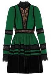 Elie Saab Lace And Velvet Paneled Pleated Crepe Mini Dress Forest Green