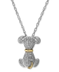 Macy's Diamond Dog Pendant Necklace In Sterling Silver And 14K Gold 1 5 Ct. T.W.