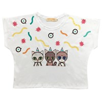 Supersweet X Moumi Party Cats Girl Tee White