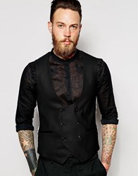 Noose And Monkey Tuxedo Waistcoat With Stretch In Super Skinny Fit Black