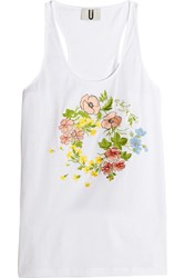 Topshop Unique Bisham Embroidered Cotton Jersey Tank White