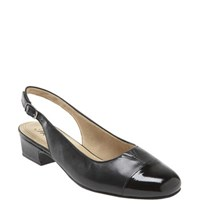 Women's Trotters 'Dea' Slingback Black Leather Black Patent