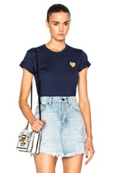 Comme Des Garcons Play Gold Heart Emblem Tee In Blue