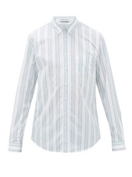 Schnayderman's Button Down Striped Cotton Poplin Shirt Green White