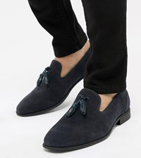 Asos Design Wide Fit Tassel Loafers In Navy Faux Suede
