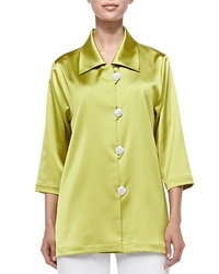 Caroline Rose Radiant Satin Pave Button Shirt Citron Women's