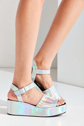 Urban Outfitters Holographic Quarter Strap Platform Sandal Silver