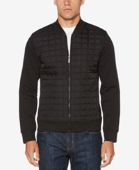Perry Ellis Men's Quilted Ponte Knit Full Zip Sweater Black
