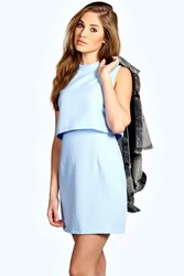 Boohoo Woven Textured High Neck Double Layer Dress Pale Blue