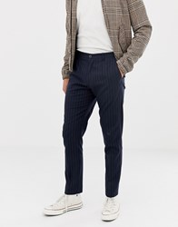 Selected Homme Tapered Fit Trousers With Chalk Stripe Dark Navy