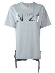 N 21 Nao21 Side Tie Logo Print T Shirt Grey