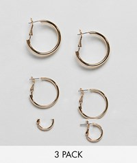 Monki Multi Size Hoop Earring 3 Pack In Gold