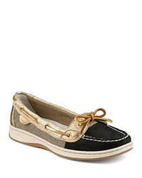 Sperry Angelfish Metallic Python Embossed Boat Shoes Black Gold
