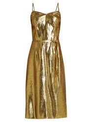 Hvn Sleeveless Lame Slip Dress Gold
