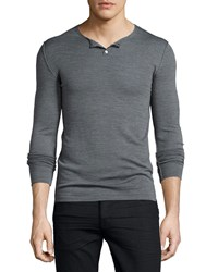 Cnc Costume National Long Sleeve Knit Henley Sweater Gray Grey