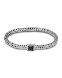 Classic Chain 5Mm Extra Small Braided Silver Bracelet Black Sapphire John Hardy
