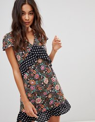 Oh My Love Mini Plunge Dress With Frill Detail Black