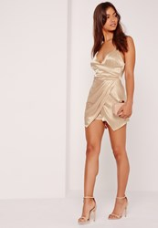 Missguided Silky Ruched Asymmetric Playsuit Nude Cream