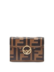 Fendi Ff Embossed Leather Wallet Black Brown