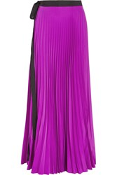 Issa Felicity Pleated Satin Maxi Wrap Skirt Purple