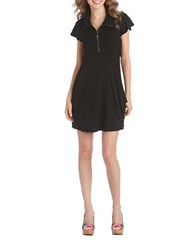 Kensie Quarter Zip Flutter Sleeved Dress Black