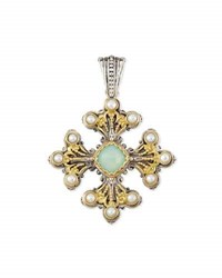 Konstantino Sea Blue Agate And Pearl Cross Pendant