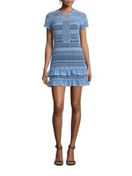 Parker Darcy Lace Ruffle Dress Powder Blue