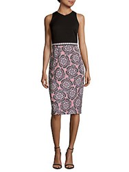 Maggy London Twin Etched Floral Dress White Coral