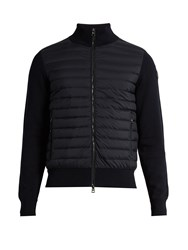 Moncler Maglia Tricot Contrast Panel Down Jacket Navy