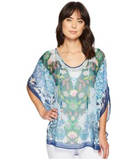 Hale Bob Simply Irresistible Washed Silk Chiffon Tunic Top Blue Blouse